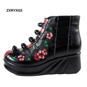Wholesale Noble and Elegant Genuine Leather Boots Women Shoes Inside Short Plush Embroidery Fashion Boots Wedges Shoes Woman