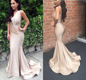Champagne V Neck Sheath Mermaid Prom Evening Dresses Ruched Evening Dresses Sweep Train Women Vestidos Evening Dresses D13