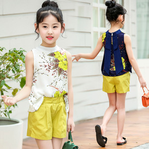 Teen Chiffon Sets Summer New Brand Girls White Cartoon Short Sleeve T-shirt+veil Dress 2pcs Children Clothes Q190523 on Sale