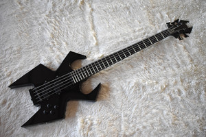 Factory Black Unusual Shape Electric Bass Guitar with 5 Strings,Black Hardware,24 Frets,High Quality,Can be Customized