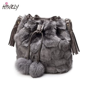 2017 New Vintage Faux Rabbit Fur Women Bag Women Messenger Bags Shoulder Cross Chain Bucket Bag Winter Soft Lady Designer Bag D19011204 on Sale