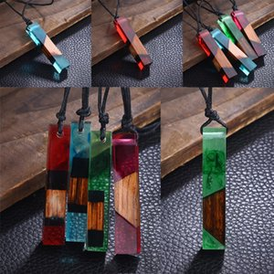 3 Styles DIY Liquid Resin Jewelry Necklace Pendant Women Ladies Fashion Solid Wood Necklaces Charm Jewelry Long Sweater Chain M435Y