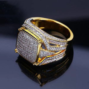 Wholesale 18K Yellow Gold Filled Natural Gemsstone White Sapphire Diamond CZ Ring Wedding Proposal Bride Men Ring Brand Jewelry Size