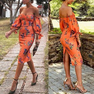 Wholesale Orange Flora Sheath Short Party Dresses Women Elegant Poet Short Sleeve Off Shoulder Mini Cocktail Afternoon Tea Dress Cheap