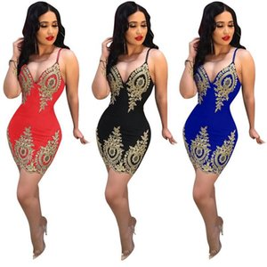 Wholesale dress Europe and America Women s clothing Sexy applique Sling dress fashion Open back Night club Skirt new style