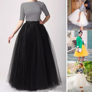 Fashion Party Dress Floor Length Adult Long Girl Tulle Prom Gowns A Line Plus Size Petticoat Skirts