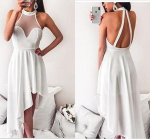Wholesale Simple White Hi Low Party Bridesmaid Dresses 2019 Halter Sheer Neck Ruched Kehole Back Cheap prom Homecoming Dress Cheap New