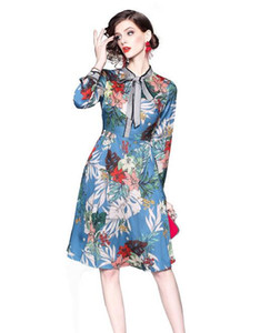 Wholesale Elegant summer Bow collar Flora printed A Line sweet girl Knee Length dresses street style dress long sleeve Women skirts