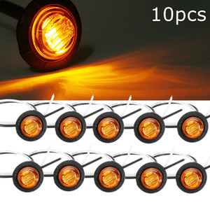 Wholesale 10Pcs Truck Amber Yellow Waterproof LED Light Small Round Side Marker Lights LED Button Lamps Lorry V V