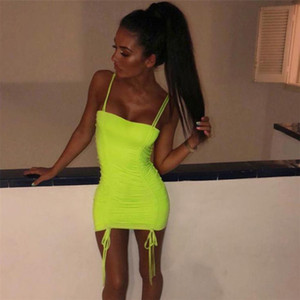 Women Summer Candy Color Light Green Dress Spaghetti Strap Bodycon Dresses Slim Fit Pencil Dress