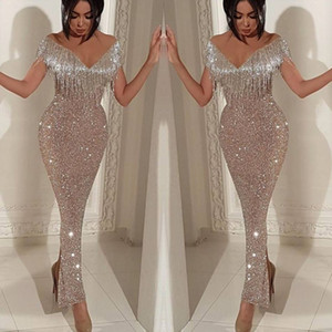 2019 Shiny Sequins Mermaid Prom Dresses Elegant Off Shoulder Tassel Evening Gowns Trumpet Ankle Length Split Cocktail Party Gowns on Sale