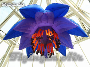 Customized Concert Venue Set Decoration Hanging Lighting Inflatable Lotus Flower 2m 3m Diameter Artificial Water Lily Flower For Party Event