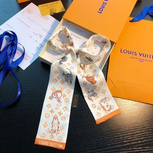 New bow tie fashion classic ladies 100% silk scarf hair bag headband designer small ribbon printed silk scarf 120 * 8cm