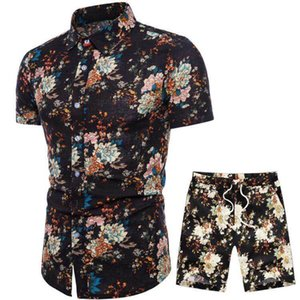 Wholesale Summer Men's Tracksuit 9 Colors Selection Short Sleeve Flower Shirt and Drawstring Shorts Fashion Casual Men Sets S-5XL