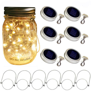 Solar Mason Jar Lid Lights, 6 Pack 20 Led String Fairy Star Firefly Jar Lids Lights,6 Hangers Included(Jars Not Included)