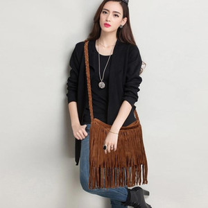Wholesale 1Women s Messenger Bags Large Capacity Fringed Bucket Purse Tassel Faux Suede Shoulder Bag Messenger Across Bags