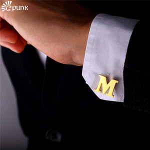 Wholesale Men Cufflinks Alphabet Letter M French Nail Business Shirts Trendy Accessories yellow Gold color Men Gift C2043G