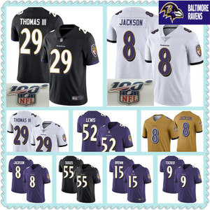 Wholesale 100TH Baltimore Jerseys Lamar Jackson Earl Thomas Justin Tucker Terrell Suggs Ray Lewis Marquise Brown Ravens Jersey
