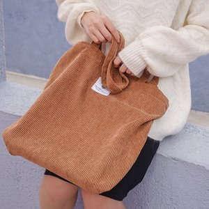 Women Corduroy Shopping Bag Female Canvas Cloth Shoulder Bag Environmental Storage Handbag Reusable Foldable Eco Grocery Totes on Sale