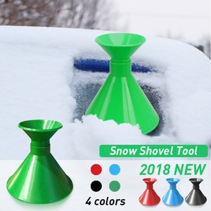 Wholesale Car Auto Magic Window Windshield Car Ice Scraper Shaped Funnel Snow Remover Deicer Cone Deicing Tool Scraping ONE Round