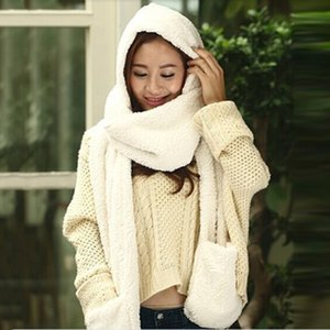 Wholesale 3 Piece Sets Women Winter Warm Soft Hood Scarf Snood Pocket Hats Gloves New Fashion Hooded Scarf Hat Glove
