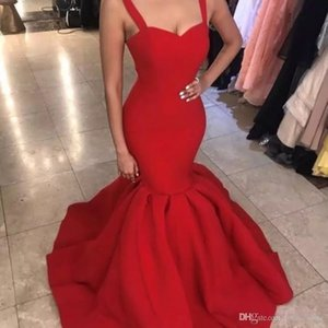 Elegant Vestidos de Fiesta Red Prom Dresses Long Cheap Spaghetti Mermaid Evening Gowns Cocktail Party Dress Formal Gown Robes de Soiree on Sale