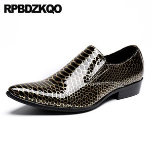 Wholesale large size snakeskin Italy men black patent leather dress shoes gold snake skin wedding pointed toe boys italian party
