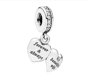 Authentic S925 Sterling Silver My Beautiful Wife Charm Pendant With Cubic Zirconia Beads Fit For European Pandora Bracelet DIY Bead Charms