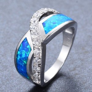 Wholesale FDLK Fashion Exquisite Infinite Cross Blue Fire Opal Copper Wedding Ring Party Christmas Day Gift