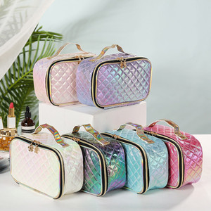 Wholesale hold bags for sale - Group buy Makeup bags cosmetic bags Love Pink Travel bag PU Hand held cosmeticbag MakeupBags letter Hologram Sequins Large capacity Storage waterproof