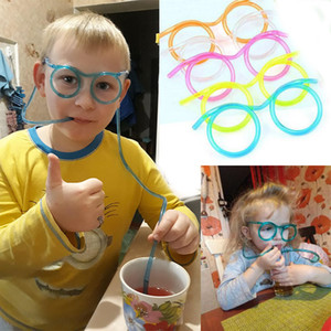 Wholesale DIY Straw for Kids Birthday Party Toys Funny Soft Glasses Straw Unique Flexible Drinking Tube Children Party Accessories