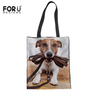 Wholesale FORUDESIGNS Jack Russell Terrier Printing Girl Shopping Bags Eco Canvas Reusable Handbag School Crossbody Bag Totes Bolsos Mujer