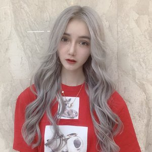 Wholesale European and American fashion wigs ladies grandmother ash bangs long curly hair large wave factory outlet