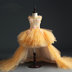 High Low Flower Girl Dresses For Weddings Lace Appliques High Quality Girls Pageant Dresses Children Kids Formal Party Dress