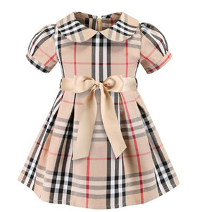 plaid dress 2019European and American styles new Girl kids summer cute doll collar short sleeved girl high quality cotton plaid dress