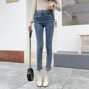 Wholesale Fashion Side Lace Up Jeans Women High Waist Slim Skinny Zipper Jeans Push Up Denim Pencil Pants Female Bowknot Tight