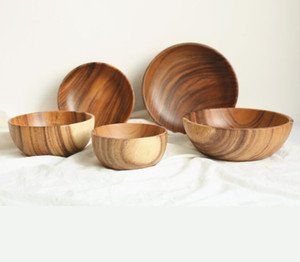 New Art Wood Craft Bowl Whole Wood Salad Bowls Simple Children's Wood Bowl Large Capacity Primary Color Wooden Bowl Wholesale on Sale