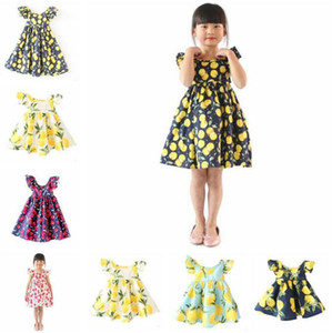 Wholesale fruits dress girl for sale - Group buy Kids Clothes Summer Girls Princess Dresses Fruit Lemon Pattern Baby Girl Dress Kids Fly Sleeve Sundress Ins girls floral beach dresses C663