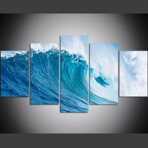 Wholesale 5 Piece Large Size Canvas Wall Art Pictures Creative Ocean Huge Waves Art Print Oil Painting for Living Room Decor