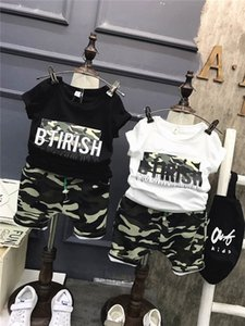 Wholesale Children boys outfits baby camouflage clothes letter t shirt camouflage pants set summer Kids leisure Clothing