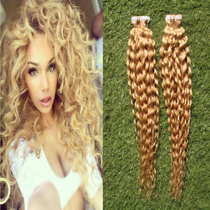 """Tape In None Remy Human Hair Adhesive Extension 12""""- 24"""" 40pcs 13 Colors curly Skin Weft Natural Hair"""