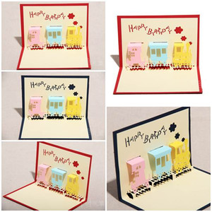 Wholesale 100pcs Little Happiness Train Design Handmade Creative Kirigami Origami D Pop UP Birthday Cards for Baby Kids Shower
