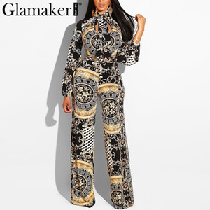 Wholesale Glamaker Sexy Printed Long Sleeve Jumpsuit Women Hollow Out Turtleneck Lace Up Jumpsuit Rompers Female Summer Vintage Overalls Y190427