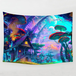 Wholesale Fairytale Mushroom World Tapestry Wall Hanging Art Print Wall Hanging Tapestry Living room Bedroom Bedside Decoration Wall Tapestry