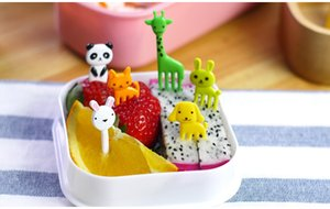 Wholesale Cute Animals Food Picks and Forks bright color Bento Food Pick Fork animals fruit forks for children food picks in a pack