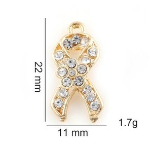 Wholesale cancer ribbons for sale - Group buy 20PCS x11mm Gold Silver Color Ribbon Cancer Hang Pendant Charms Fit For Glass Magnetic Memory Floating Locket