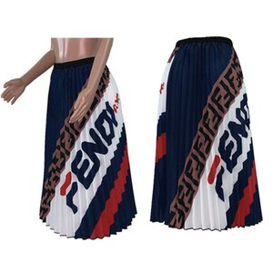 Wholesale Women FF Letter Print Pleated Dresses Skirts Elegant Ladies Vintage Dress A Line Skirts Casual Fashion Flared Maxi Skirt Party Dress C42205