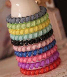 Wholesale Candy Color Telephone Wire Hair Ring Jelly Gum Clear Elastic Hair Bands cm Plastic Spring Hairband Rubber Hair Ropes Accessories A21401