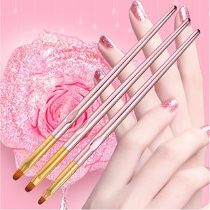 Wholesale 3pcs Nail Brush Set Easy Use Home Colored Drawing Soft Fiber Art Liner Round Head Portable Detailed Painting DIY Spa Lightweight