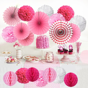 Wholesale tissue honeycomb balls resale online - 19Pcs Set Hanging Decorations Set Paper Fans Tissue Paper Pom Poms Flower and Honeycomb Balls for Birthday Party Wedding baby boy
